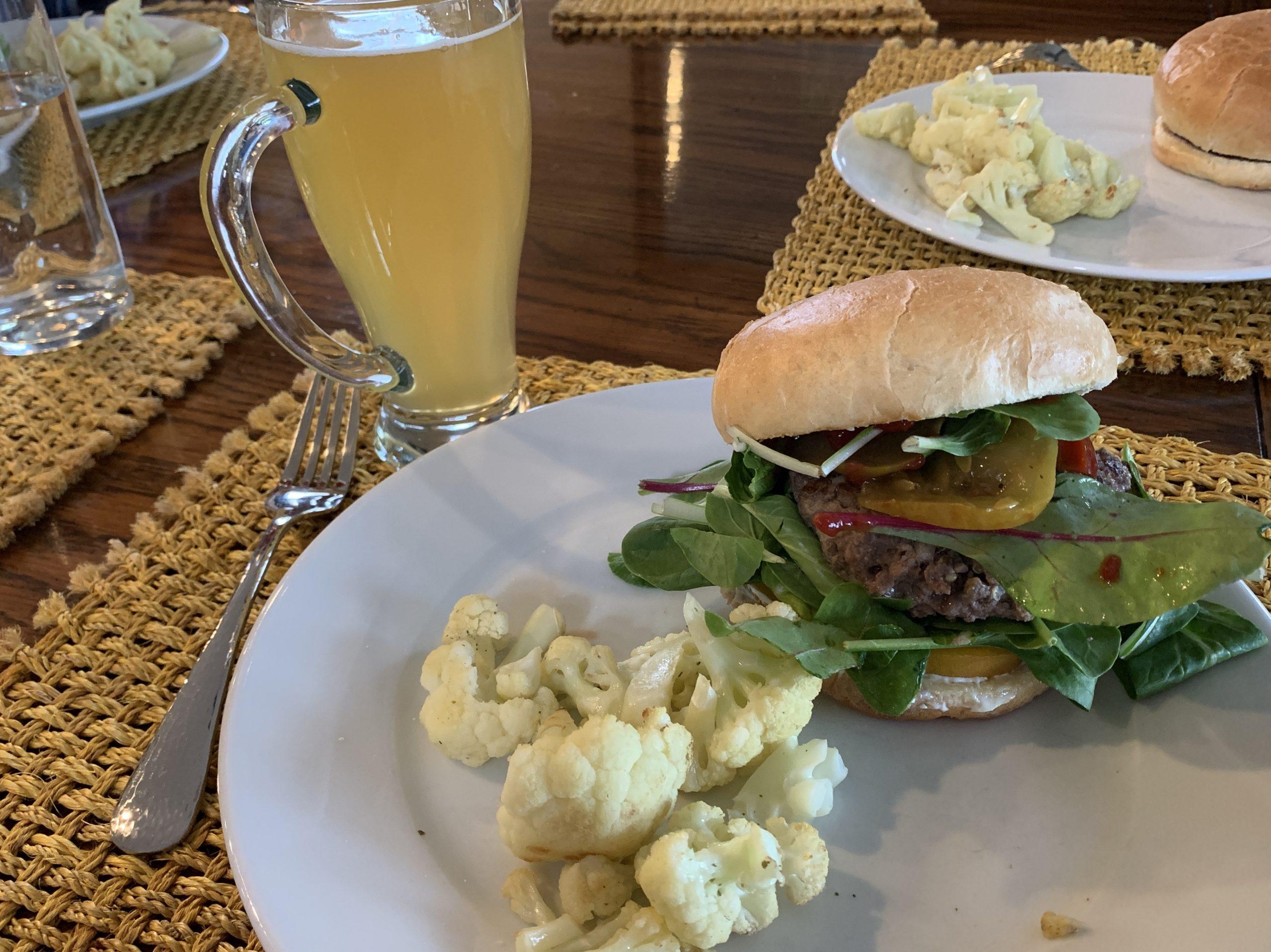 Day 14. Quinoa Beef Burgers & Roasted Cauliflower