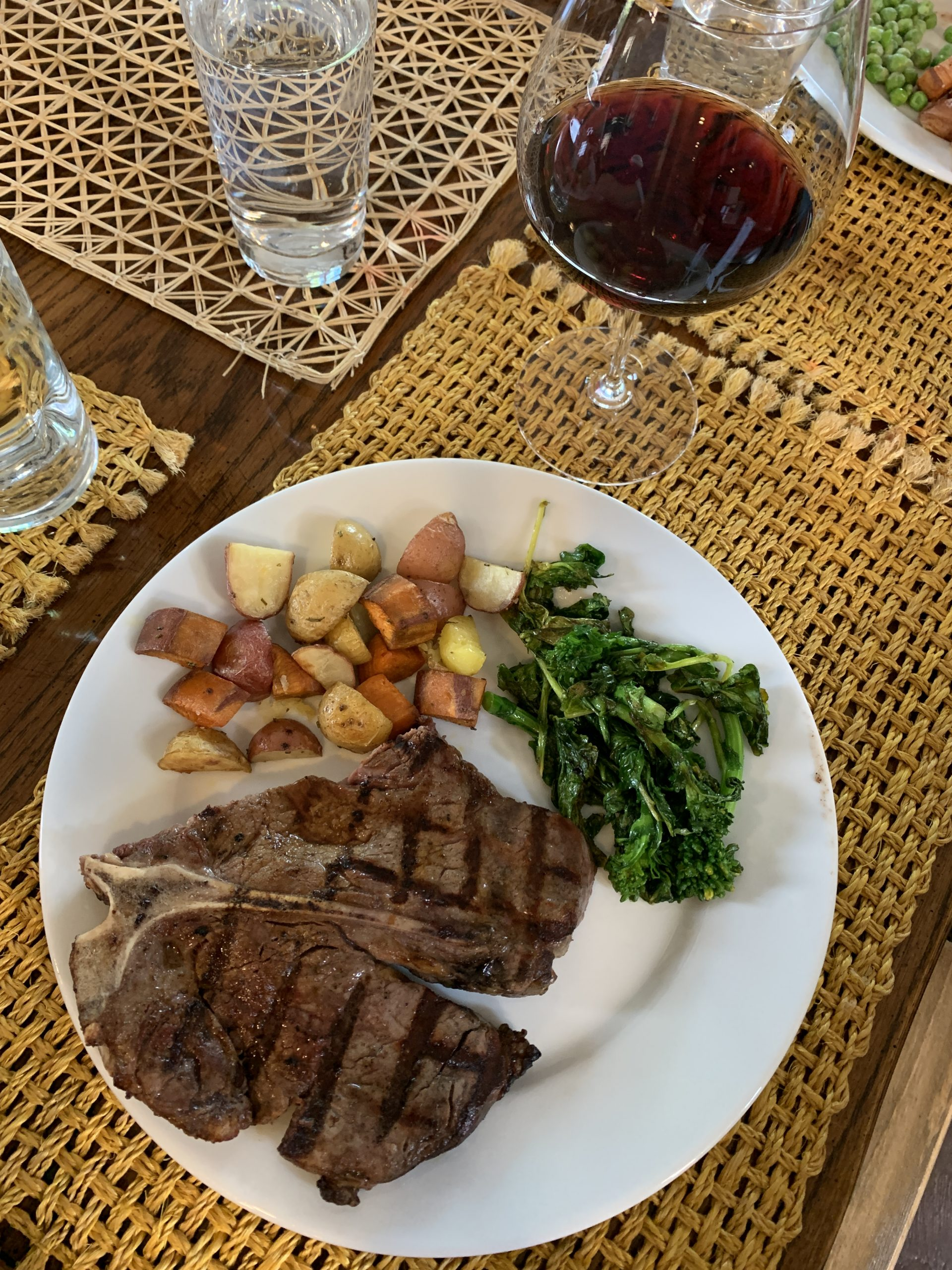 Day 18. Grilled T-Bone Steak with roasted potato medley and broccoli rabe